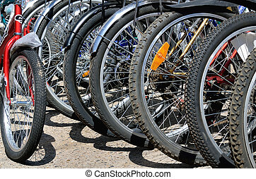 bicycle wheels close-up in the parking lot