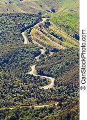 Winding road landscape of Hawke's Bay New Zealand - Winding...