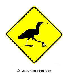 NZ Attention Bittern Crossing Road Sign on White - New...