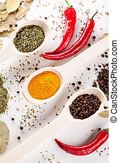 red peppers and other kind of spices in spoons - red hot...