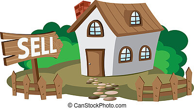 House for sell - Illustration of house for sell Concept of...