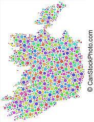 Isolated Map of Ireland - Europe -