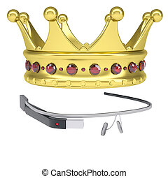 Google Glass and a golden crown. Isolated render on a white...