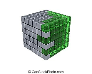 3D Cube - Assembly - Green Glass and Metal