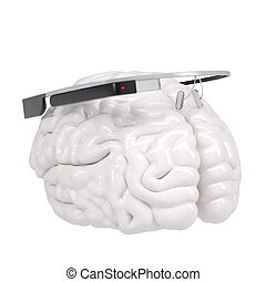 Google Glass and brain. Isolated render on a white...