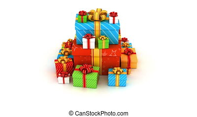Gift boxes - Pyramid pile of colored gifts camera fly round,...