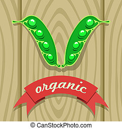 Pea Pod on Wooden Boards - vector illustration of a pea pod...