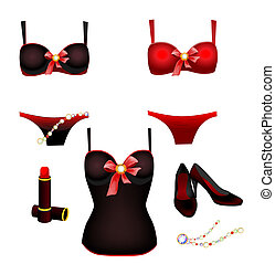 seductive lingerie collection, lipstick and shoes