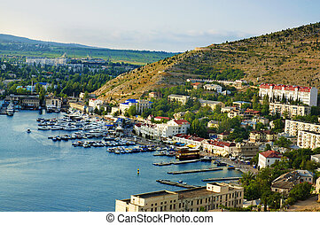 Balaklava city in Crimea, Ukraine, with sea bay and boats