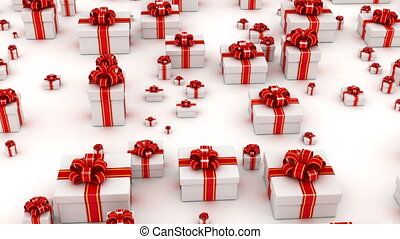Gift boxes fly - Many white gifts camera fly over, with...