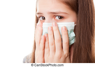 Teenager girl in surgical mask - portrait teenager girl on a...
