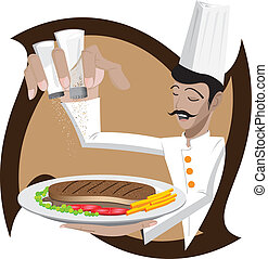 Chef is add salt and pepper on steak - Illustration of a...