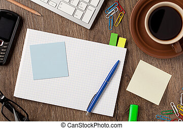Notebook and office supplies - Notebook, coffee and office...