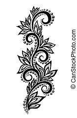 isolado, floral, desenho, elemento, com, efeito, Renda,...