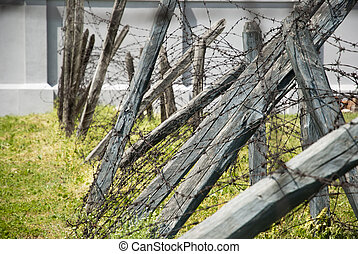 Barbed wire in concentation camp, Nis, Serbia - Barbed wire...
