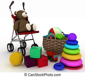 childs toys and pram - 3d render illustration of childs toys...