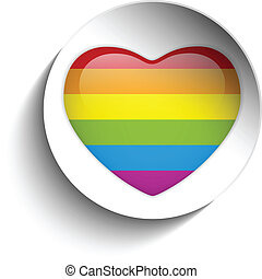 Gay Flag Heart Striped Sticker - Vector - Gay Flag Heart...