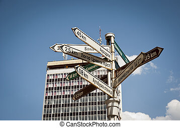 Signpost in center of Nis, Serbia - Signpost with directions...