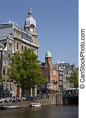 Amsterdam, Netherlands - Old houses with tower - Old houses...