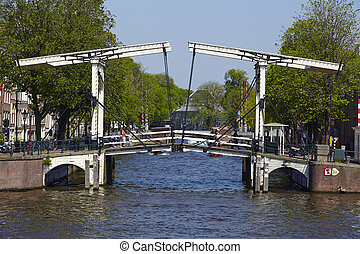 Amsterdam, Netherlands - Drawbridge - An old drawbridge in...