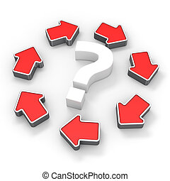 Circle of problems - Question mark in the circle of red...