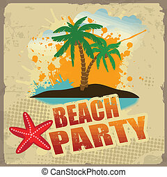 Tropical beach party poster with splash and palms on vintage...