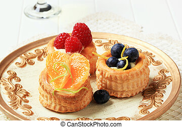 Custard filled vol-au-vents with fruit