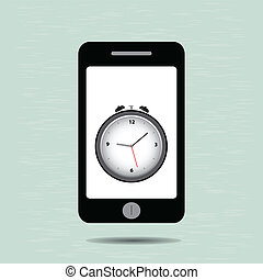 Smart phone and alarm clock,vector eps10