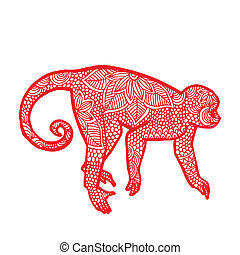 Monkey illustration- Chinese zodiac - Red monkey with floral...