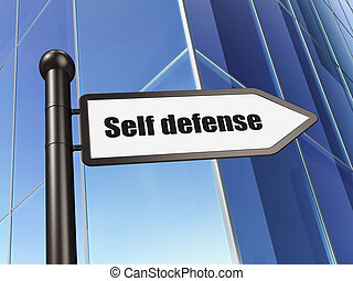 Protection concept: Self Defense on Building background, 3d...