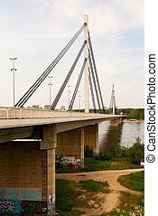 Brige of Liberty crossing the Dunabe river in Novi Sad,...