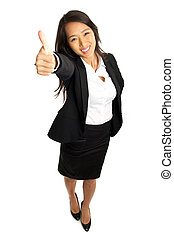 Thumbs up Asian Business Woman - Bird's view of formal Asian...