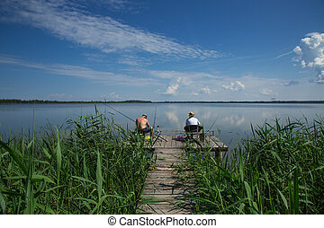 fishing in the summer season - fishing in the summer on a...