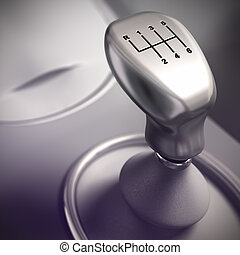 Gear Shift Detail, Automobile - Detail of Gearshift in a...