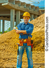 contractor on building place