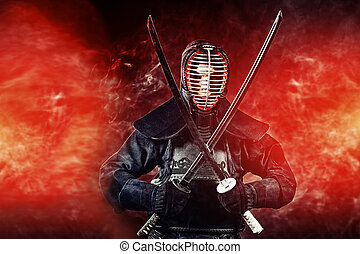warrior kendo - Handsome young man practicing kendo Over...