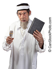 Senior preacher - A senior with a microphone and book...
