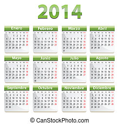 2014 Spanish calendar - Green calendar for 2014 year in...