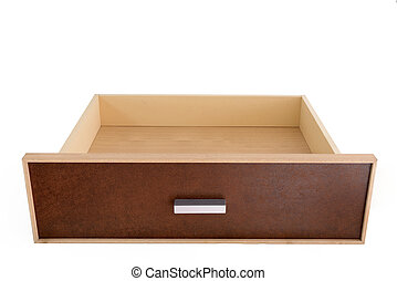 Empty wooden drawer an isolated white background