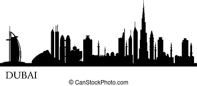 Dubai city silhouette Vector skyline illustration