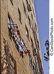 Laundry drying - Madrid, August 2012 Laundry drying on a...