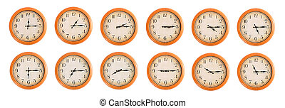 Wall clocks set #3/4 - Isolated wall clocks set on white...