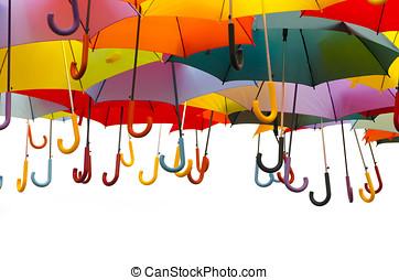 Umbrella handles - A lot of umbrellas in diverse colors...