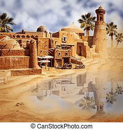 antigas, fantasia, cidade, lago, deserto