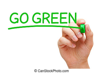 Go Green Concept - Hand writing Go Green with green marker...