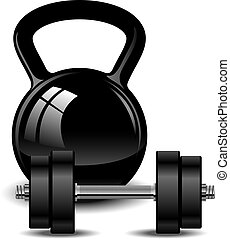 Kettlebell and dumbbell over white EPS 10, AI, JPEG