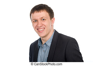 Closeup portrait of happy young businessman. isolated white...