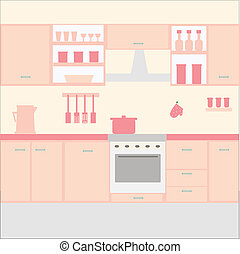 Illustration of kitchen with kitchen furniture. Vector
