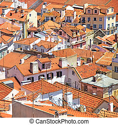 Roofs and white houses view in old Alfama district, Lisbon....