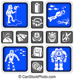diving squared icons